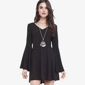 Express Black Mini Bell Sleeve Fitted Dress Size 2